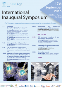 Symposium ONCOAGE 17 SEPTEMBRE